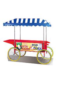 עגלה ענקית עם גגון למכונת פופקורן וסוכר למכירה